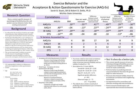 Exercise Behavior and the Acceptance & Action Questionnaire for Exercise (AAQ-Ex) Sarah B. Staats, BA & Robert D. Zettle, Ph.D Wichita State University.