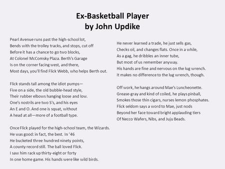 Ex-Basketball Player by John Updike