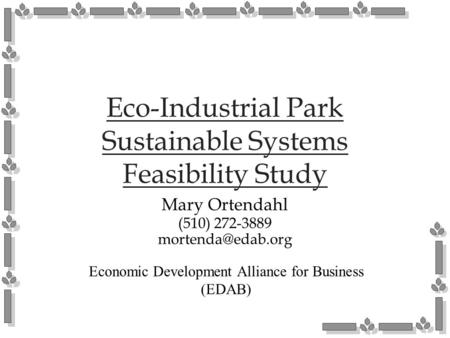 Eco-Industrial Park Sustainable Systems Feasibility Study