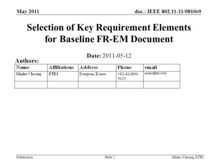 Doc.: IEEE 802.11-11/0810r0 Submission May 2011 Minho Cheong, ETRISlide 1 Selection of Key Requirement Elements for Baseline FR-EM Document Date: 2011-05-12.