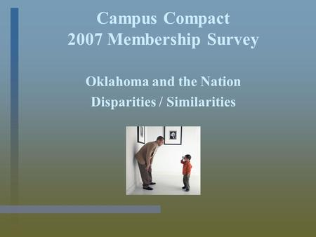 Campus Compact 2007 Membership Survey Oklahoma and the Nation Disparities / Similarities.
