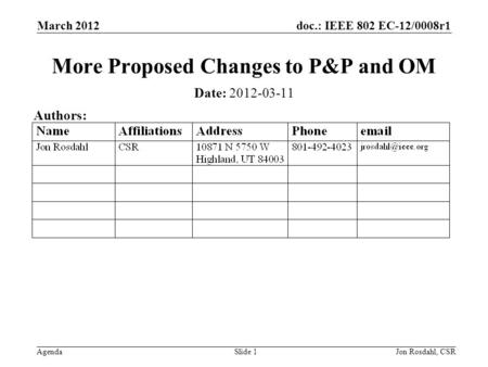 Doc.: IEEE 802 EC-12/0008r1 Agenda March 2012 Jon Rosdahl, CSRSlide 1 More Proposed Changes to P&P and OM Date: 2012-03-11 Authors: