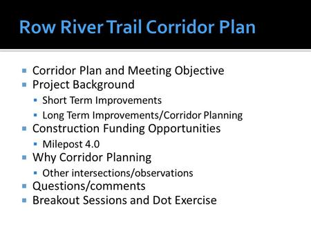  Corridor Plan and Meeting Objective  Project Background  Short Term Improvements  Long Term Improvements/Corridor Planning  Construction Funding.