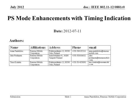 Doc.: IEEE 802.11-12/0881r0 Submission July 2012 Anna Pantelidou, Renesas Mobile CorporationSlide 1 PS Mode Enhancements with Timing Indication Date: 2012-07-11.
