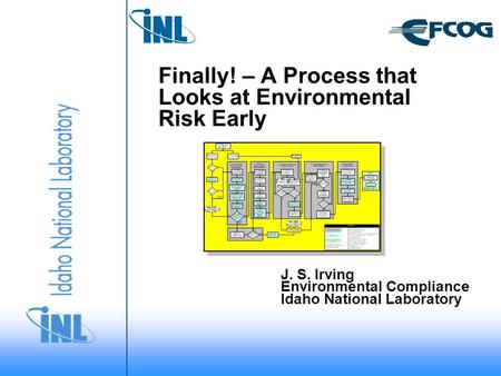 Finally! – A Process that Looks at Environmental Risk Early J. S. Irving Environmental Compliance Idaho National Laboratory.