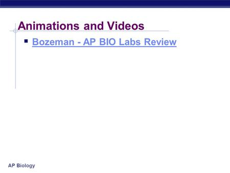 Animations and Videos Bozeman - AP BIO Labs Review.