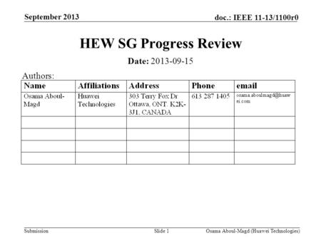 Submission doc.: IEEE 11-13/1100r0 September 2013 Osama Aboul-Magd (Huawei Technologies)Slide 1 HEW SG Progress Review Date: 2013-09-15 Authors: