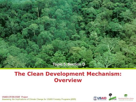 USAID-CIFOR-ICRAF Project Assessing the Implications of Climate Change for USAID Forestry Programs (2009) The Clean Development Mechanism: Overview Topic.