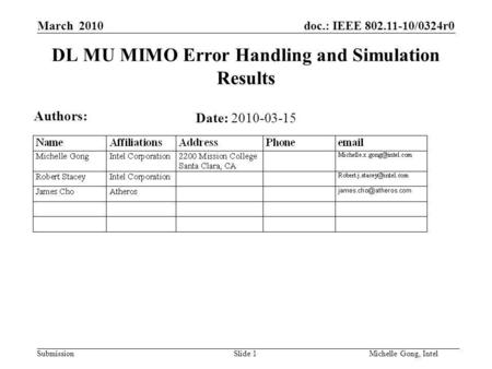 Doc.: IEEE 802.11-10/0324r0 Submission Slide 1Michelle Gong, Intel March 2010 DL MU MIMO Error Handling and Simulation Results Date: 2010-03-15 Authors: