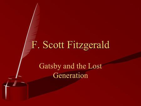 Gatsby and the Lost Generation