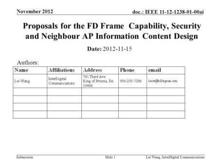 Submission doc.: IEEE 11-12-1238-01-00ai November 2012 Lei Wang, InterDigital CommunicationsSlide 1 Proposals for the FD Frame Capability, Security and.