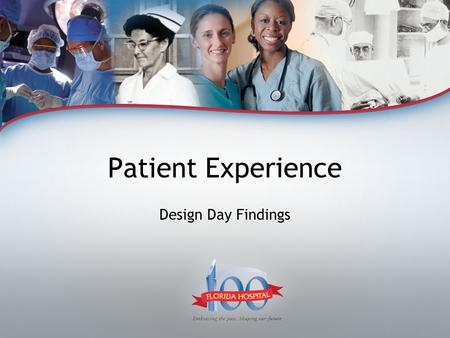 Patient Experience Design Day Findings. Design Activity - Goals Identify what matters to patients – through Acts I, II & III Specifically Identify the.