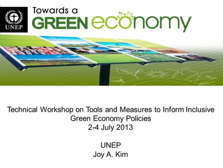Technical Workshop on Tools and Measures to Inform Inclusive Green Economy Policies 2-4 July 2013 UNEP Joy A. Kim.