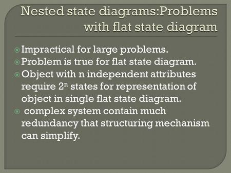 Nested state diagrams:Problems with flat state diagram