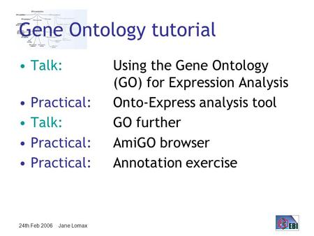 24th Feb 2006 Jane Lomax Gene Ontology tutorial Talk:Using the Gene Ontology (GO) for Expression Analysis Practical:Onto-Express analysis tool Talk: GO.