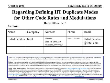 Doc.: IEEE 802.11-06/1587r0 Submission October 2006 Eldad Perahia (Intel)Slide 1 Regarding Defining HT Duplicate Modes for Other Code Rates and Modulations.