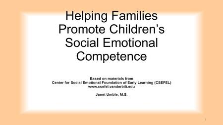 Helping Families Promote Children's Social Emotional Competence Based on materials from Center for Social Emotional Foundation of Early Learning (CSEFEL)