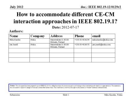 Doc.: IEEE 802.19-12/0129r2 Submission July 2012 Mika Kasslin, NokiaSlide 1 How to accommodate different CE-CM interaction approaches in IEEE 802.19.1?