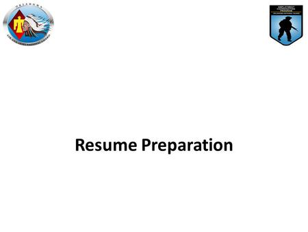 Resume Preparation. A resume is the bait that gets you in the door for an interview. no interview = no chance of getting the job! The Purpose of a Resume.
