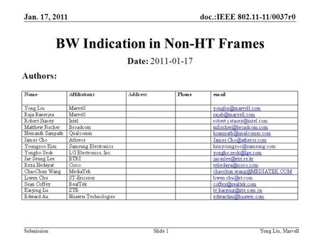 Doc.:IEEE 802.11-11/0037r0 Submission Jan. 17, 2011 Yong Liu, MarvellSlide 1 BW Indication in Non-HT Frames Date: 2011-01-17 Authors: