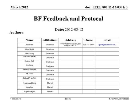 Doc.: IEEE 802.11-12/0371r0 Submission March 2012 Ron Porat, Broadcom BF Feedback and Protocol Date: 2012-03-12 Authors: Slide 1.