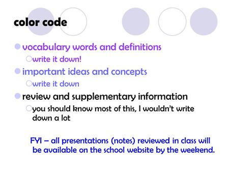 color code vocabulary words and definitions