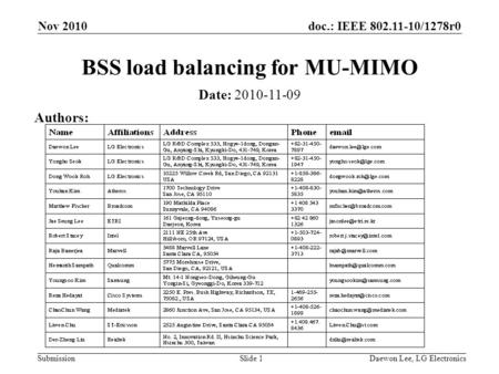Doc.: IEEE 802.11-10/1278r0 Submission BSS load balancing for MU-MIMO Date: 2010-11-09 Authors: Nov 2010 Slide 1Daewon Lee, LG Electronics.