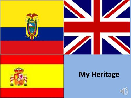 My Heritage My Ancestors We come from many places including Ecuador. Our family tree spreads across the world. In this power point you will see pictures.
