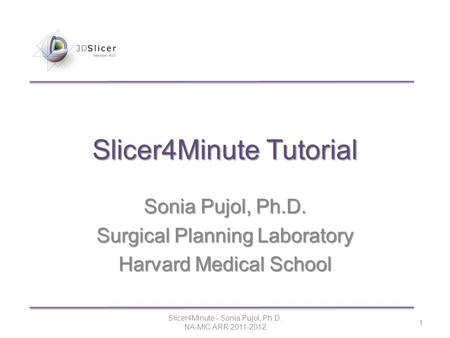 Slicer4Minute Tutorial Sonia Pujol, Ph.D. Surgical Planning Laboratory Harvard Medical School Slicer4Minute - Sonia Pujol, Ph.D. NA-MIC ARR 2011-2012 1.