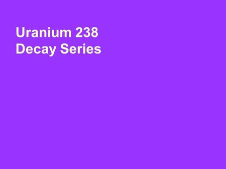 Uranium 238 Decay Series. Element: Symbol: Atomic Number: Atomic Mass: Decay Particle: Half Life: Uranium U 92 238 Alpha 4.5x10 yrs 9.