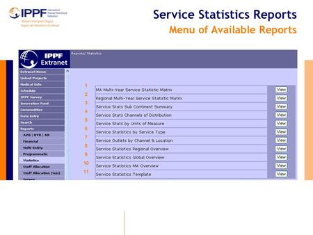 Service Statistics Reports Menu of Available Reports 1 2 3 4 5 6 7 8 9 10 11.