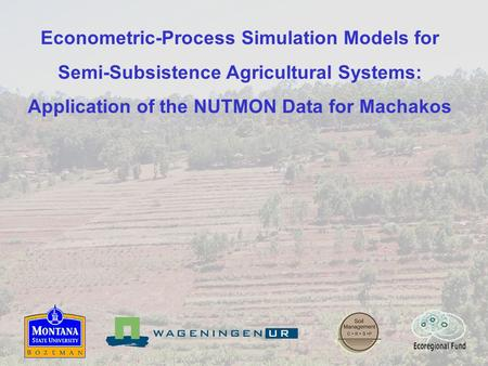 Econometric-Process Simulation Models for Semi-Subsistence Agricultural Systems: Application of the NUTMON Data for Machakos.