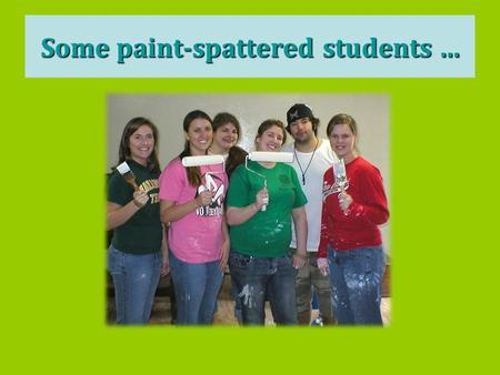 Some paint-spattered students …. students with a blue kiddie pool...