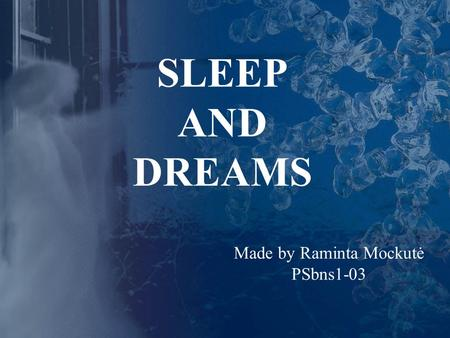 SLEEP AND DREAMS Made by Raminta Mockutė PSbns1-03.