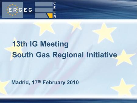 Madrid, 17 th February 2010 13th IG Meeting South Gas Regional Initiative.