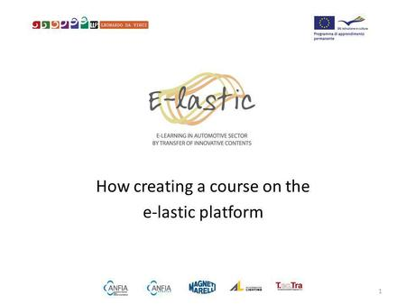 How creating a course on the e-lastic platform 1.