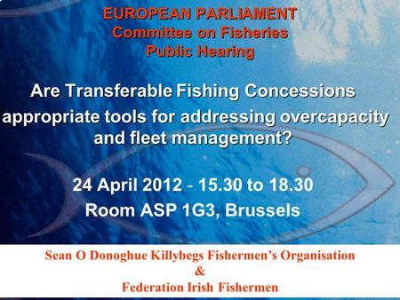 EUROPEAN PARLIAMENT Committee on Fisheries Public Hearing Are Transferable Fishing Concessions appropriate tools for addressing overcapacity and fleet.