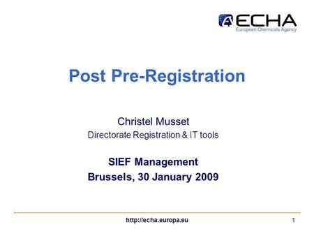 Post Pre-Registration Christel Musset Directorate Registration & IT tools SIEF Management Brussels, 30 January 2009.