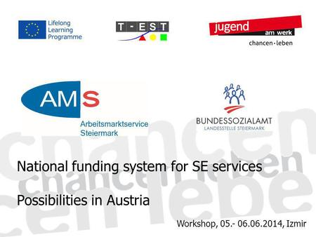Workshop, 05.- 06.06.2014, Izmir National funding system for SE services Possibilities in Austria.