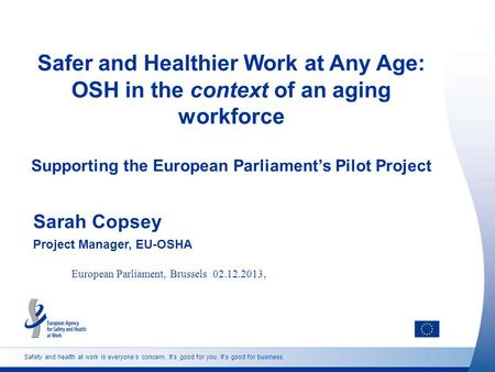 Safety and health at work is everyone's concern. It's good for you. It's good for business. Safer and Healthier Work at Any Age: OSH in the context of.