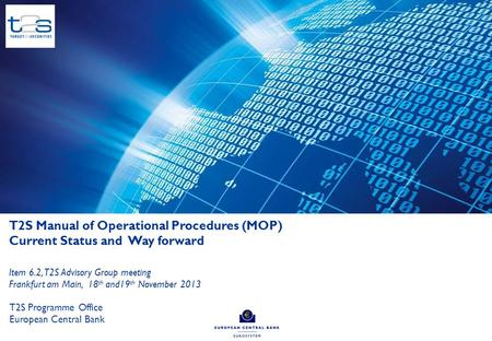 Table of contents 1 Manual of Operational Procedures (MOP) 2