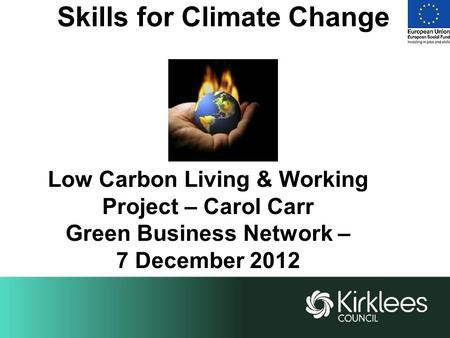 Skills for Climate Change Low Carbon Living & Working Project – Carol Carr Green Business Network – 7 December 2012.