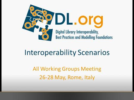 Interoperability Scenarios All Working Groups Meeting 26-28 May, Rome, Italy.