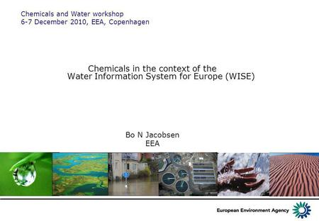 Chemicals in the context of the Water Information System for Europe (WISE) Bo N Jacobsen EEA Chemicals and Water workshop 6-7 December 2010, EEA, Copenhagen.