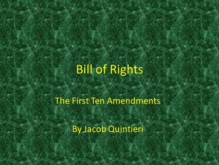 The First Ten Amendments By Jacob Quintieri
