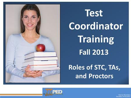 1 Test Coordinator Training Fall 2013 Roles of STC, TAs, and Proctors.