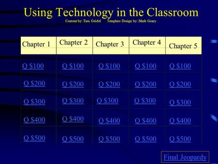 Using Technology in the Classroom Content by: Tara Geidel Template Design by: Mark Geary Chapter 1 Chapter 2 Chapter 3 Chapter 4 Chapter 5 Q $100 Q $200.