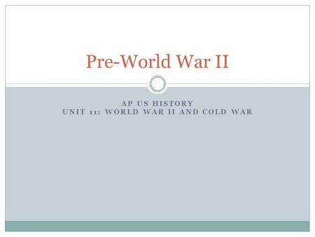 AP US History Unit 11: World War II and Cold War