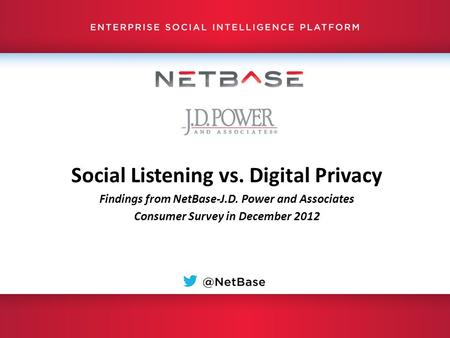 Social Listening vs. Digital Privacy Findings from NetBase-J.D. Power and Associates Consumer Survey in December 2012.