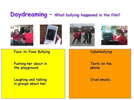 Daydreaming – What bullying happened in the film? Face-to-Face Bullying Pushing her about in the playground. Laughing and talking in groups about her.